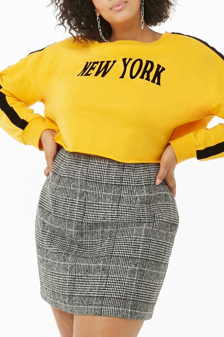 PLUS Plus Size Glen Plaid Mini Skirt