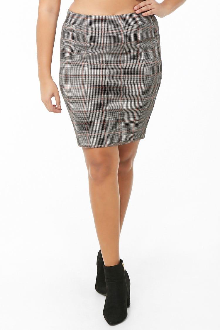 PLUS Plus Size Glen Plaid Skirt