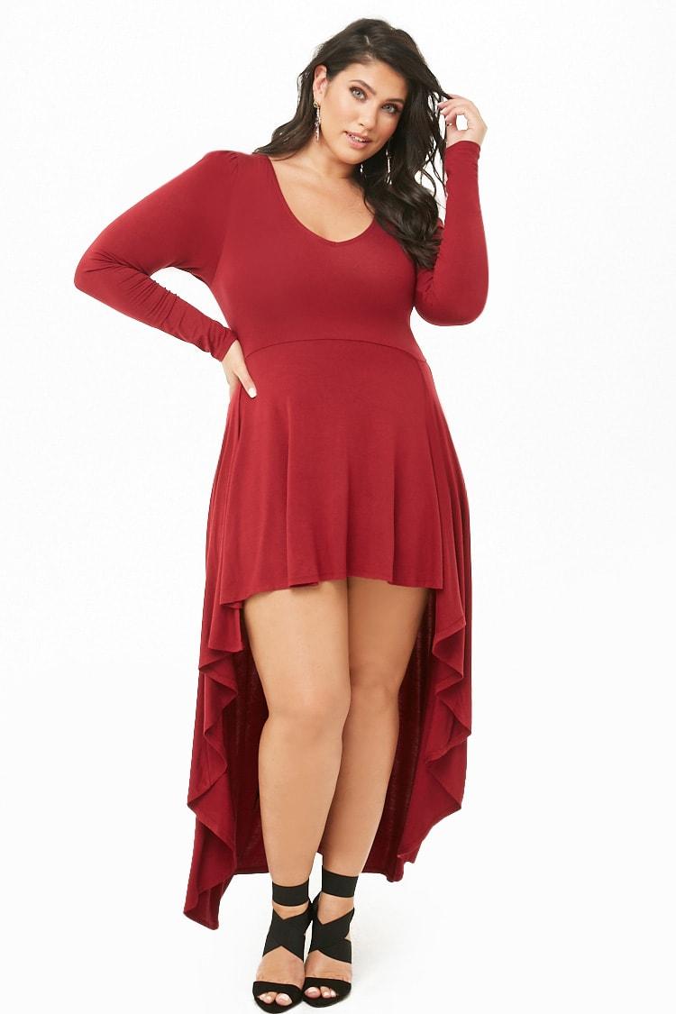 PLUS Plus Size High-Low Knit Dress