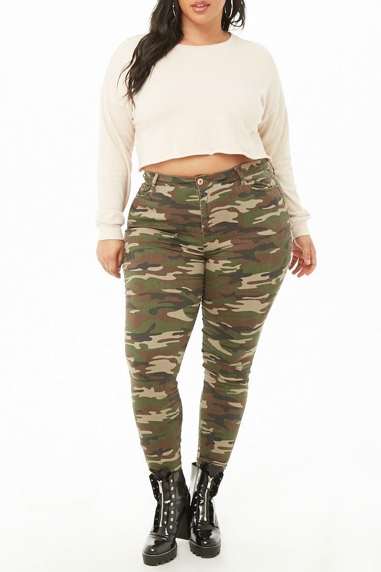 PLUS Plus Size High-Rise Camo Print Jeans