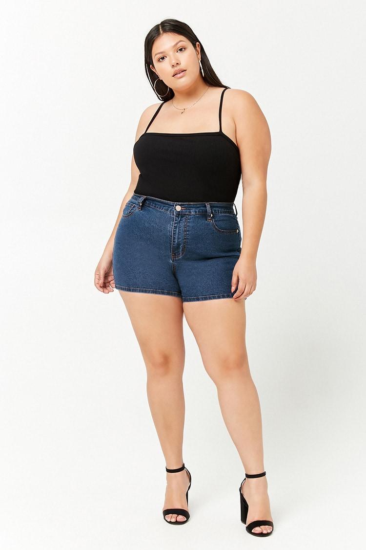 PLUS Plus Size High-Rise Denim Shorts
