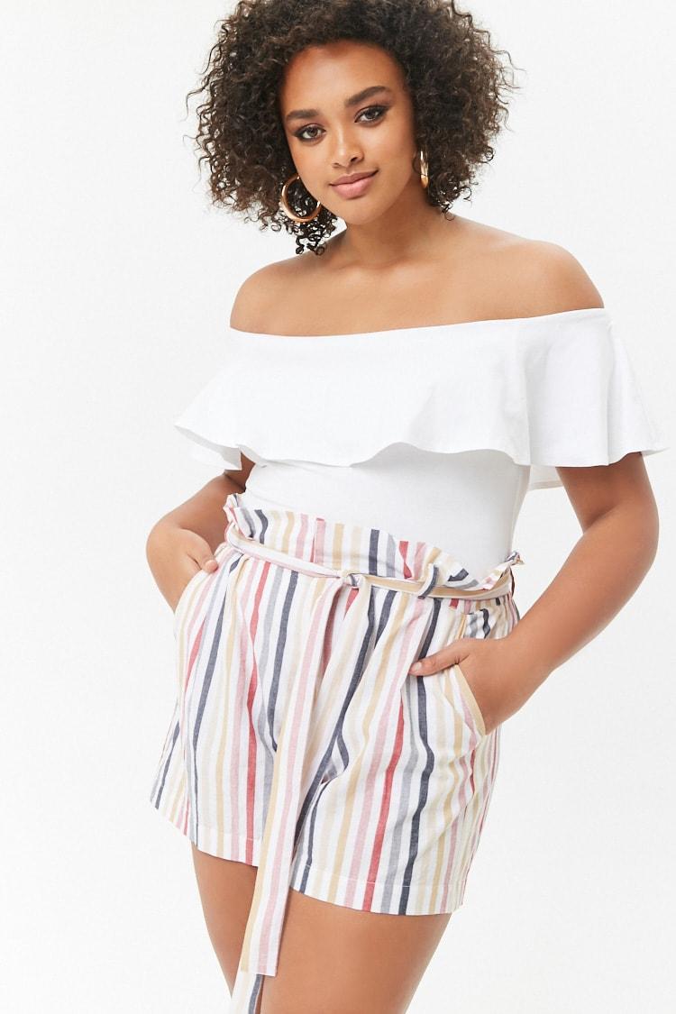 PLUS Plus Size High-Rise Striped Shorts