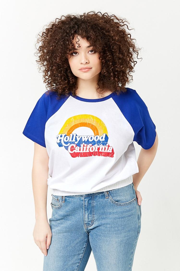 PLUS Plus Size Hollywood California Raglan Tee