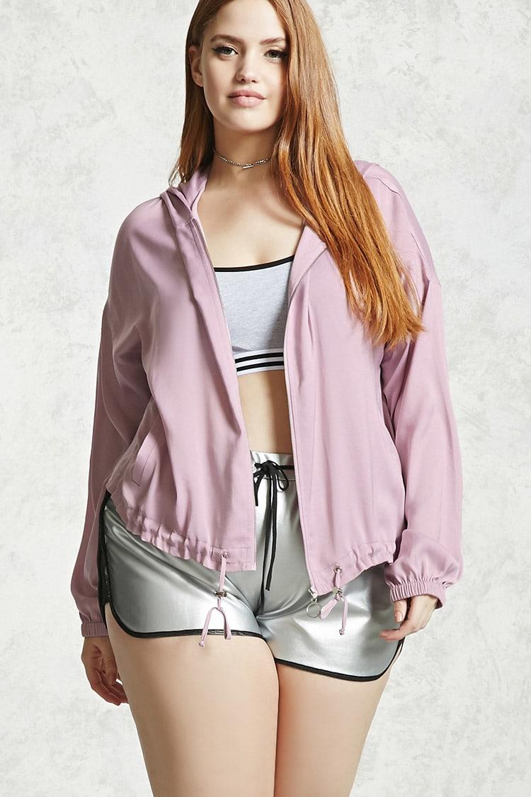 PLUS Plus Size Hooded Satin Jacket