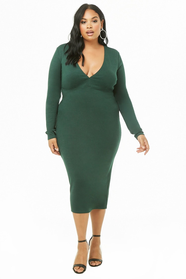 PLUS Plus Size Knit V-Neck Midi Dress