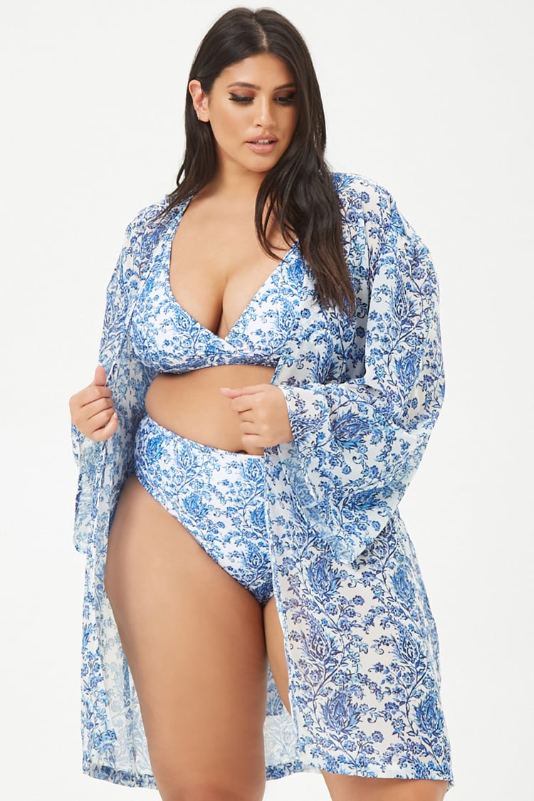 PLUS Plus Size Kulani Kinis Floral Swim Cover-Up Kimono