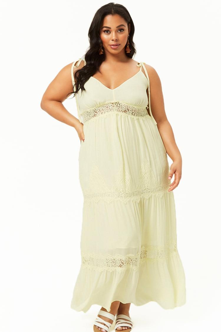 PLUS Plus Size Lace Trim Maxi Dress