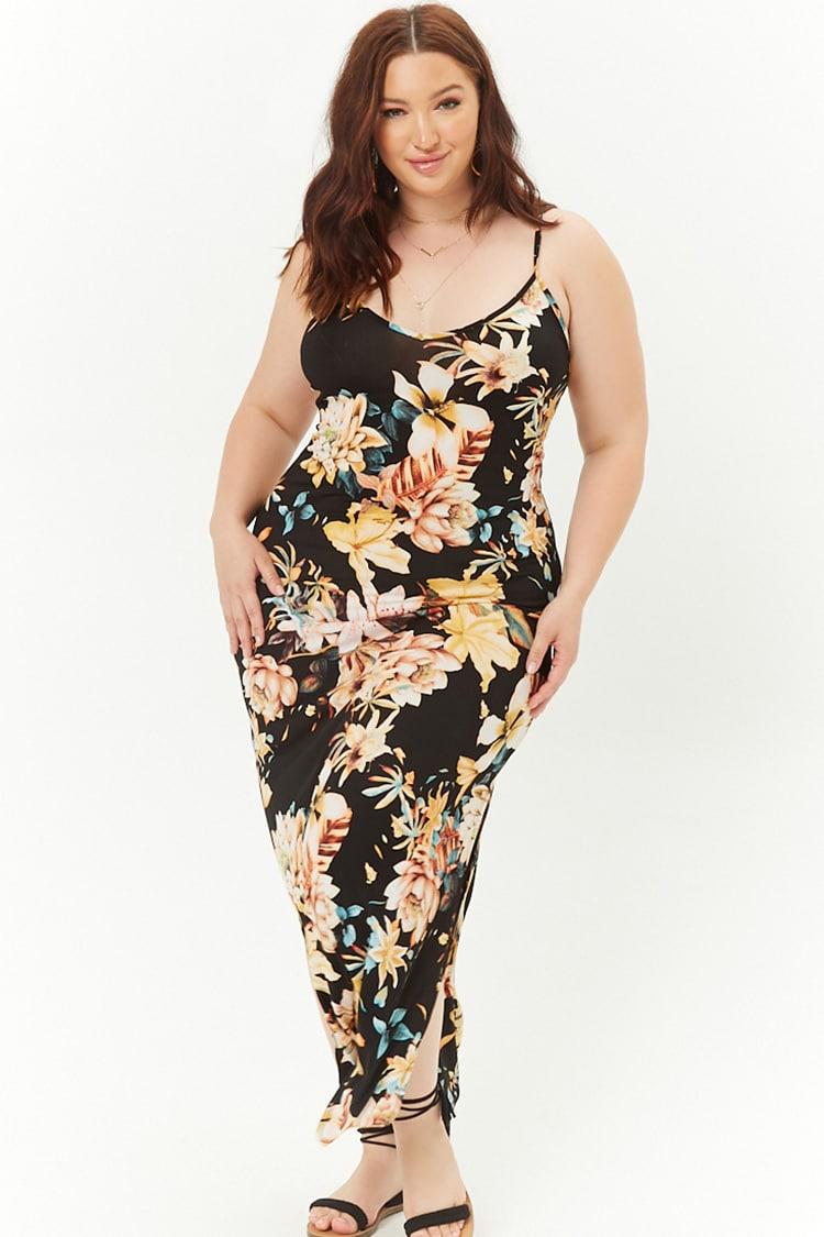 PLUS Plus Size Lace-Up Floral Midi Dress