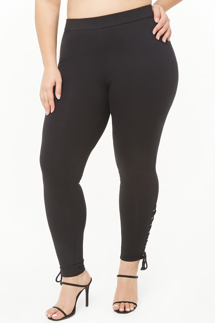 PLUS Plus Size Lace-Up Leggings
