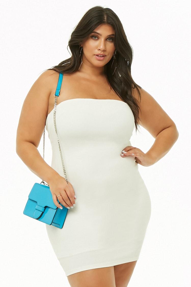PLUS Plus Size Lace-Up Mini Tube Dress