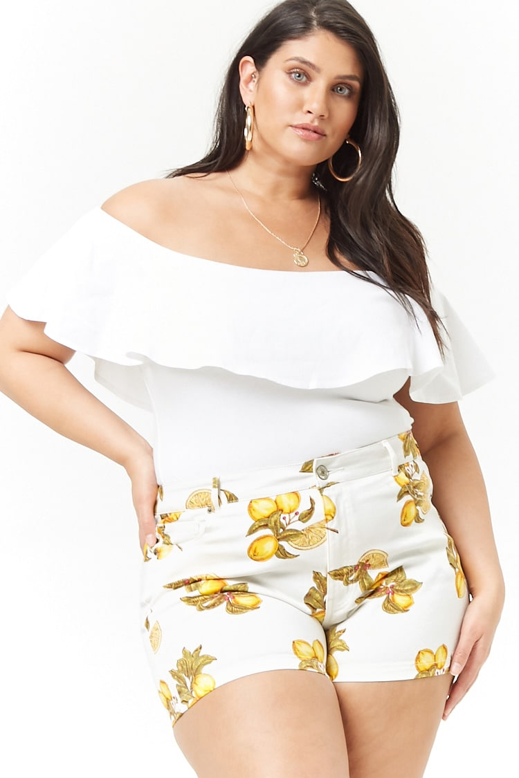 PLUS Plus Size Lemon Denim Shorts