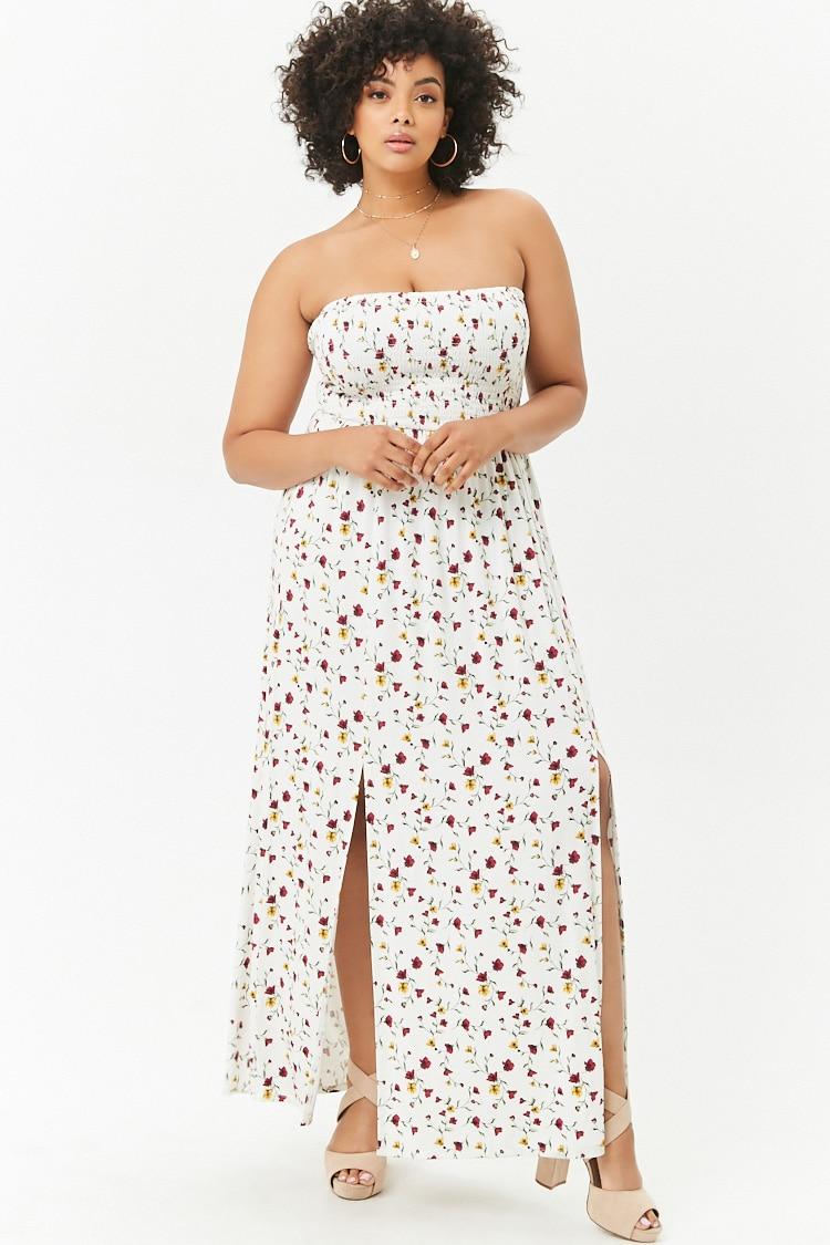 PLUS Plus Size M-Slit Floral Maxi Dress