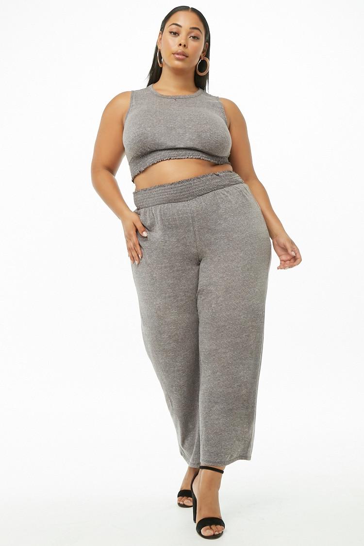 PLUS Plus Size Marled Smocked-Trim Crop Top & Pants Set