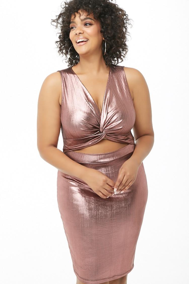 PLUS Plus Size Metallic Cutout Dress