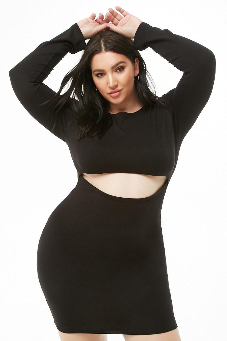 PLUS Plus Size Midriff Cutout Mini Dress