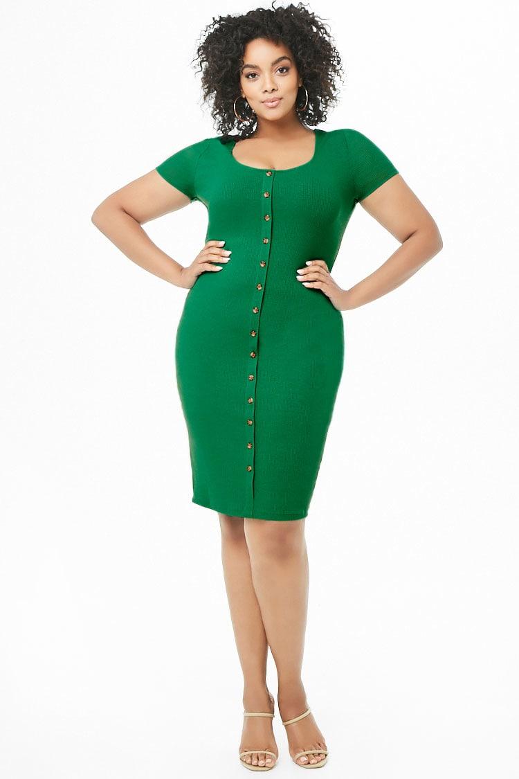 PLUS Plus Size Mock Button-Down Dress