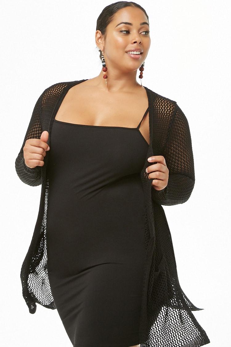 PLUS Plus Size Open-Knit Cardigan
