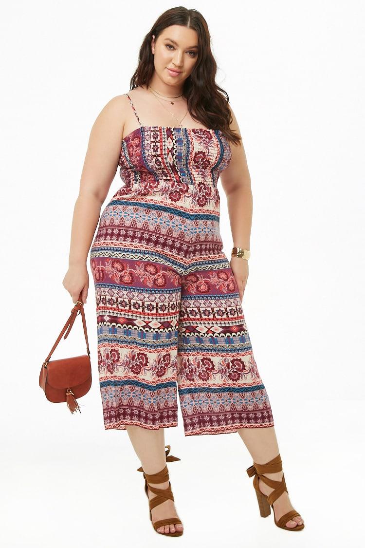 PLUS Plus Size Ornate Smocked Jumpsuit