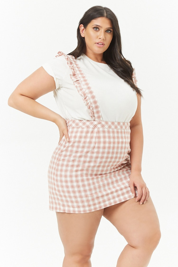 PLUS Plus Size Overall Plaid Mini Dress