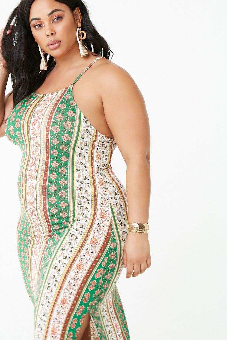 PLUS Plus Size Paisley Print Maxi Dress
