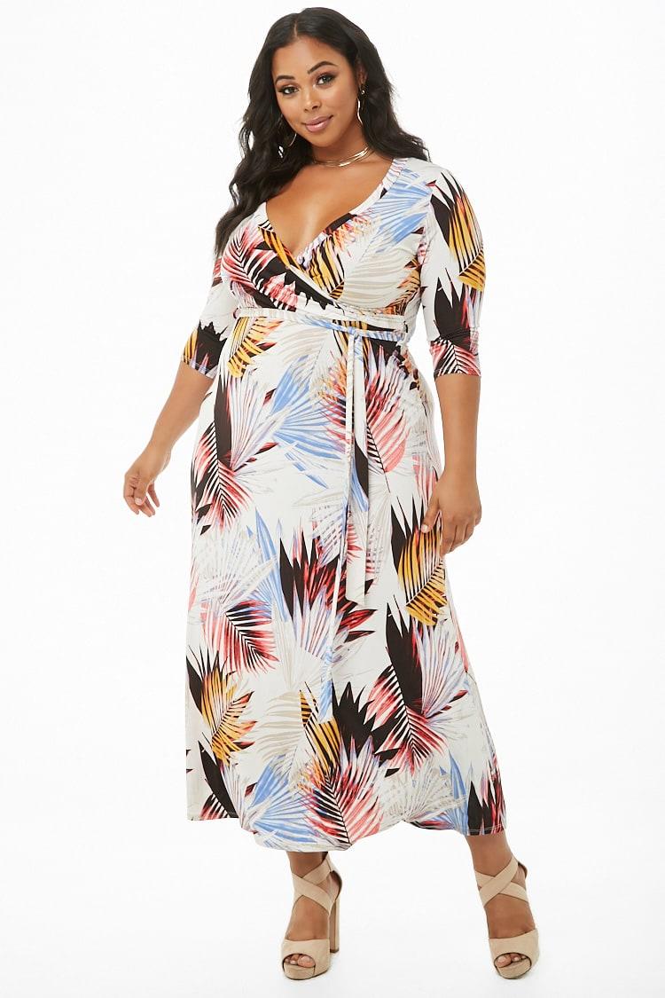 PLUS Plus Size Palm Leaf Surplice Maxi Dress