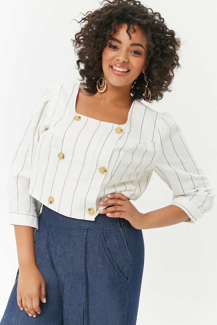 PLUS Plus Size Pinstriped Double-Breasted Top