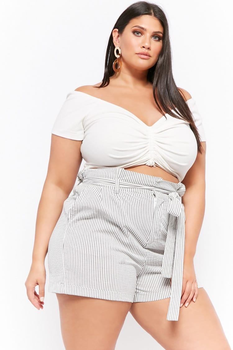 PLUS Plus Size Pinstriped Paperbag Shorts