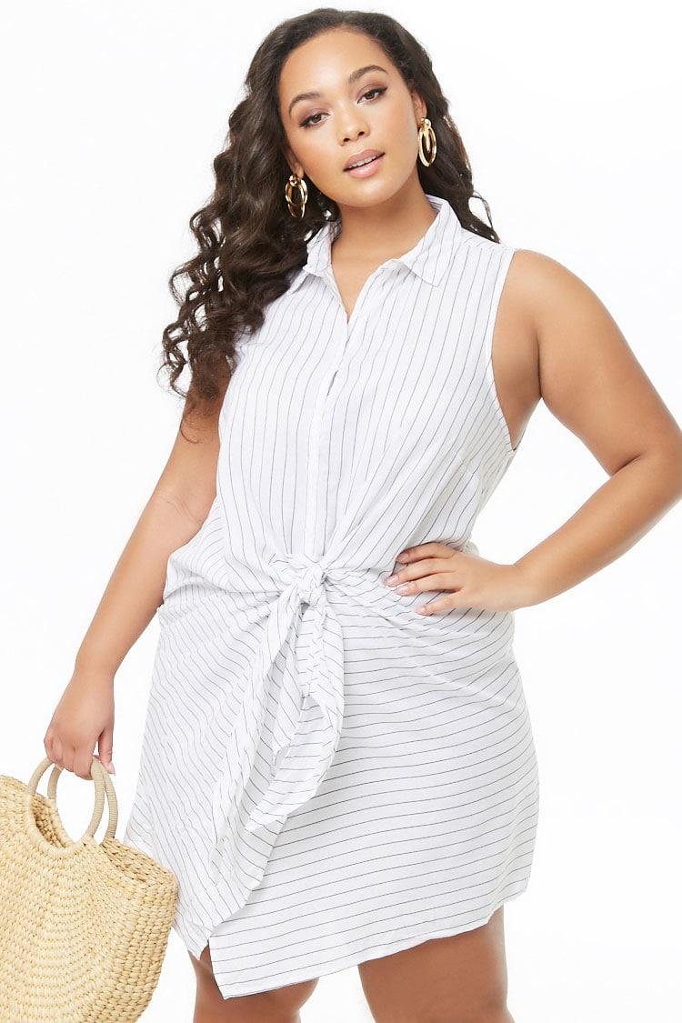 PLUS Plus Size Pinstriped Tie-Front Shirt Dress