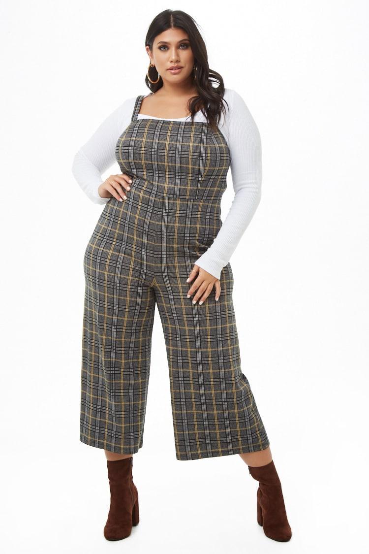 PLUS Plus Size Plaid Culotte Jumpsuit