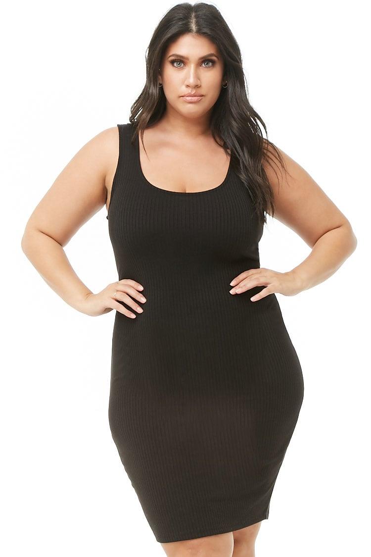 PLUS Plus Size Ribbed Knit Bodycon Dress