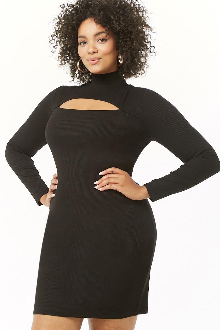 PLUS Plus Size Ribbed Mini Dress