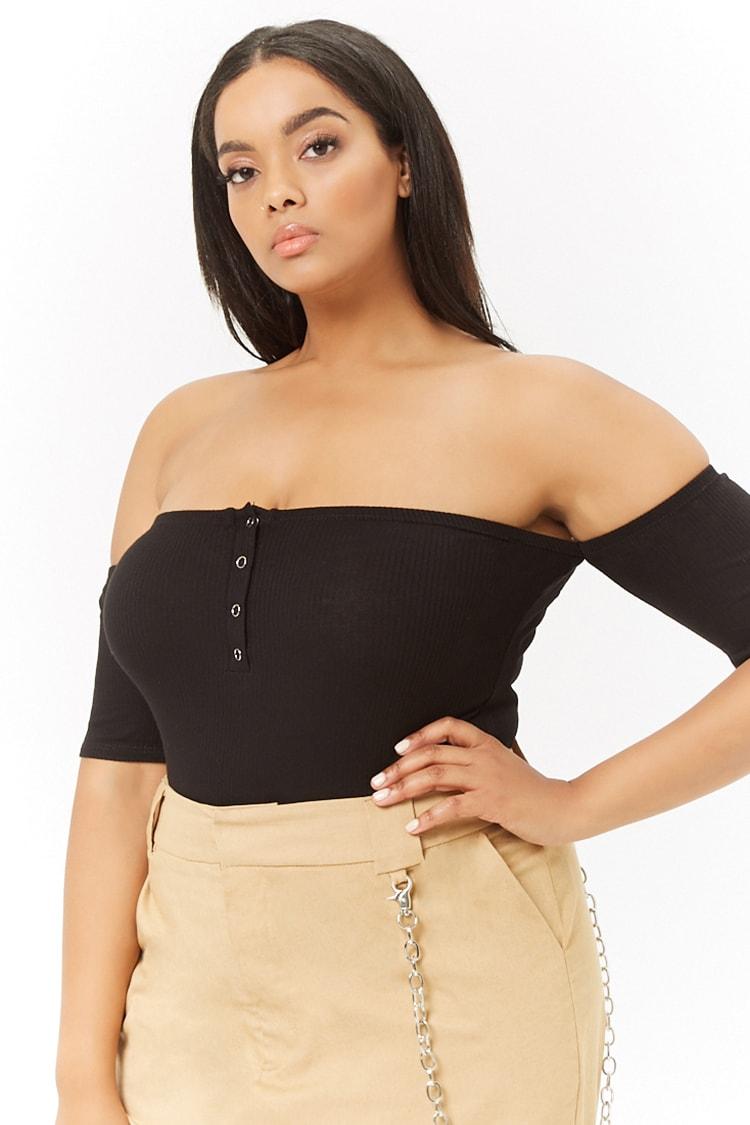 PLUS Plus Size Ribbed Off-the-Shoulder Button-Down Bodysuit