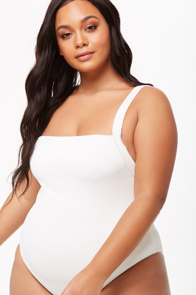 PLUS Plus Size Ribbed One-Piece Swimsuit