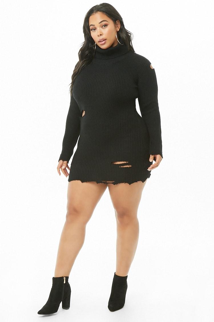 PLUS Plus Size Ribbed Sweater Dress