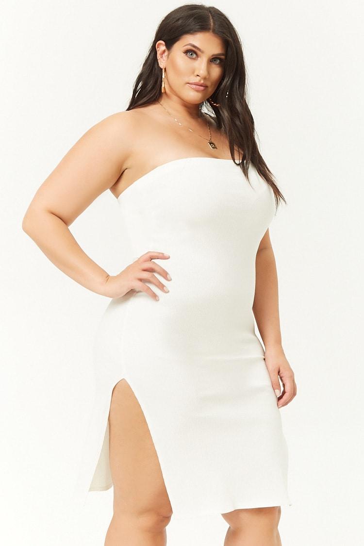 PLUS Plus Size Ribbed Tube Bodycon Mini Dress