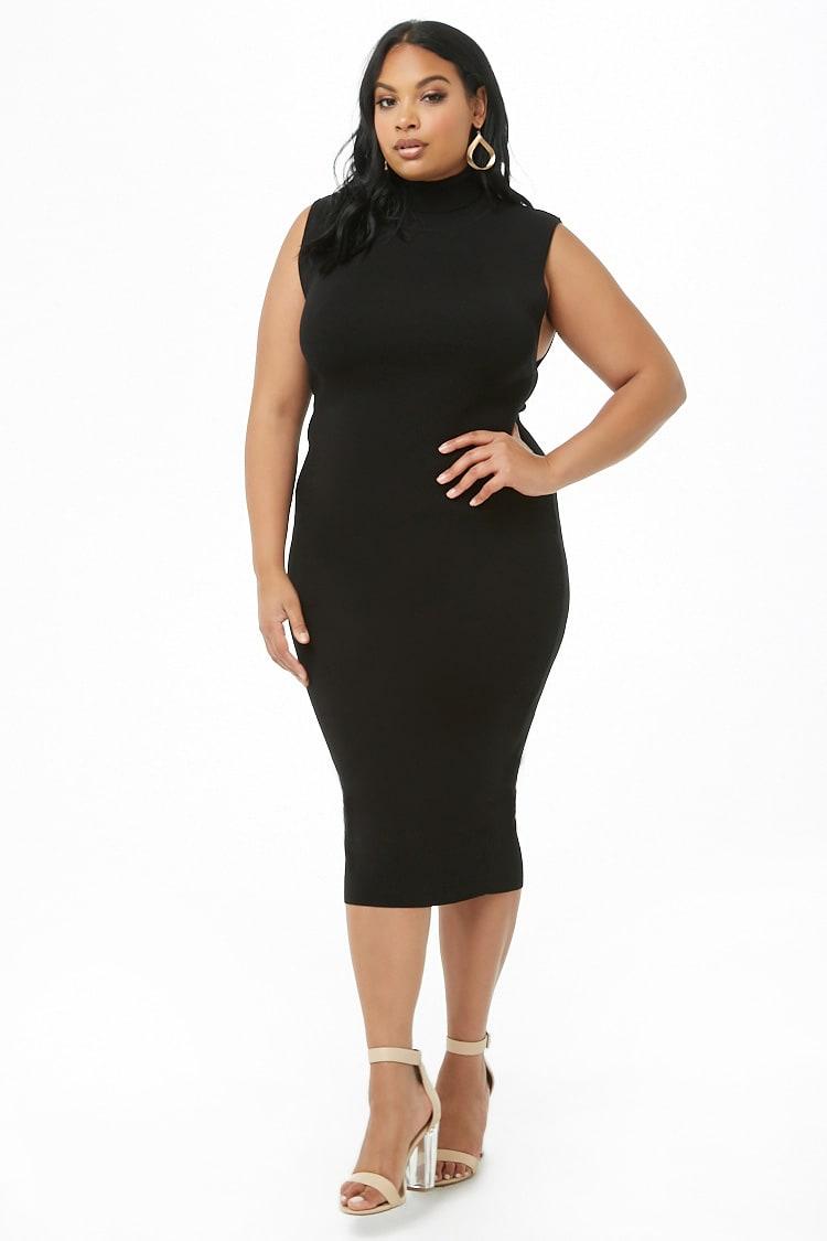 PLUS Plus Size Ribbed Turtleneck Dress