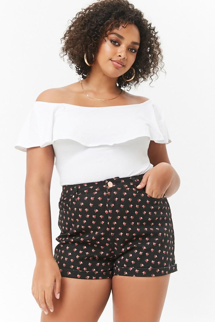 PLUS Plus Size Rose Print Denim Shorts