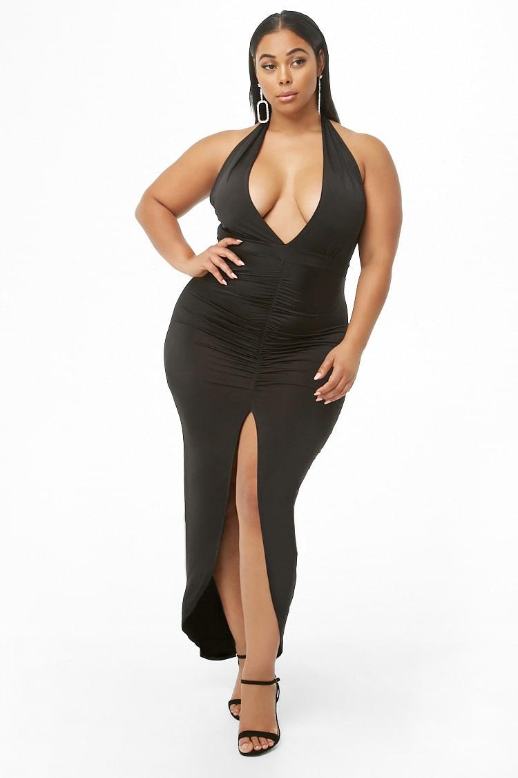 PLUS Plus Size Ruched Halter Maxi Dress