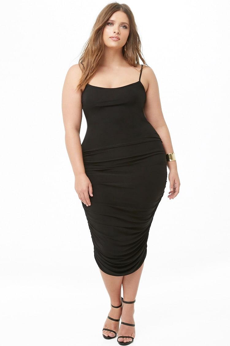 PLUS Plus Size Ruched Midi Dress