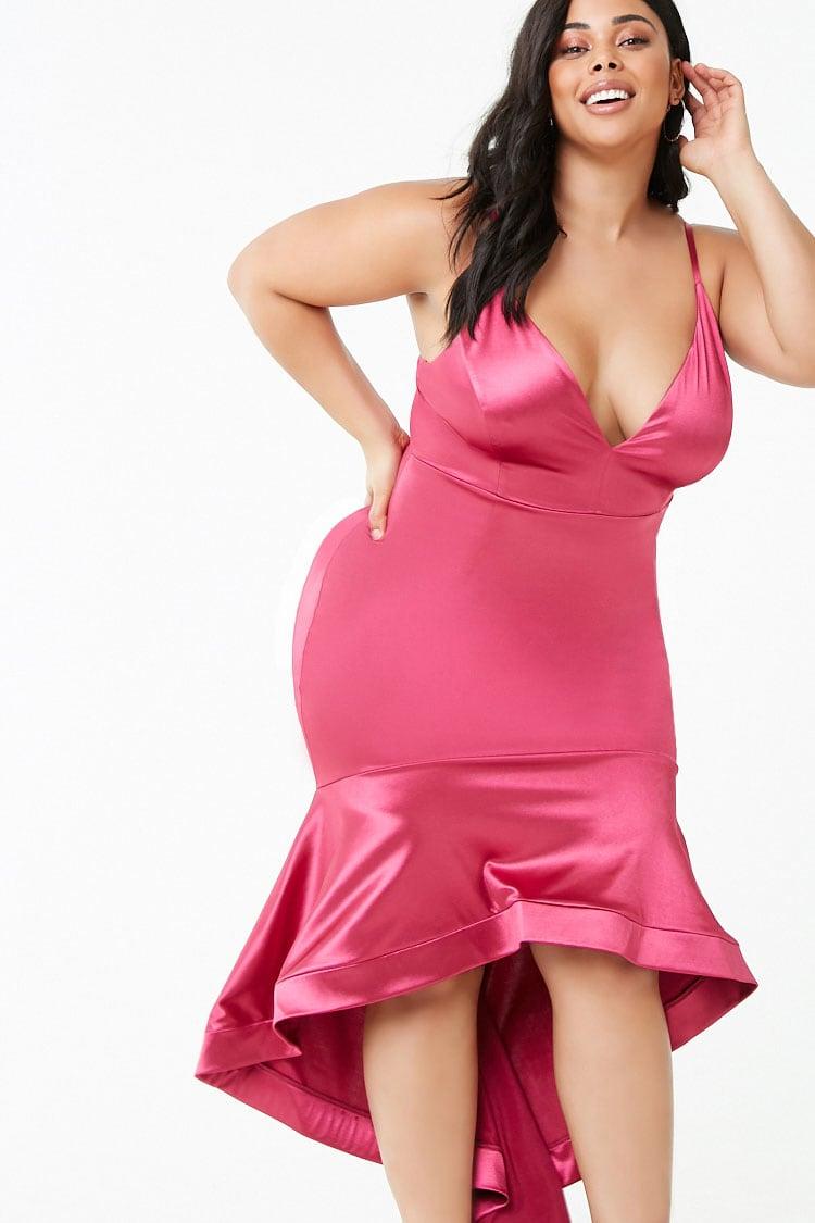 PLUS Plus Size Satin High-Low Gown