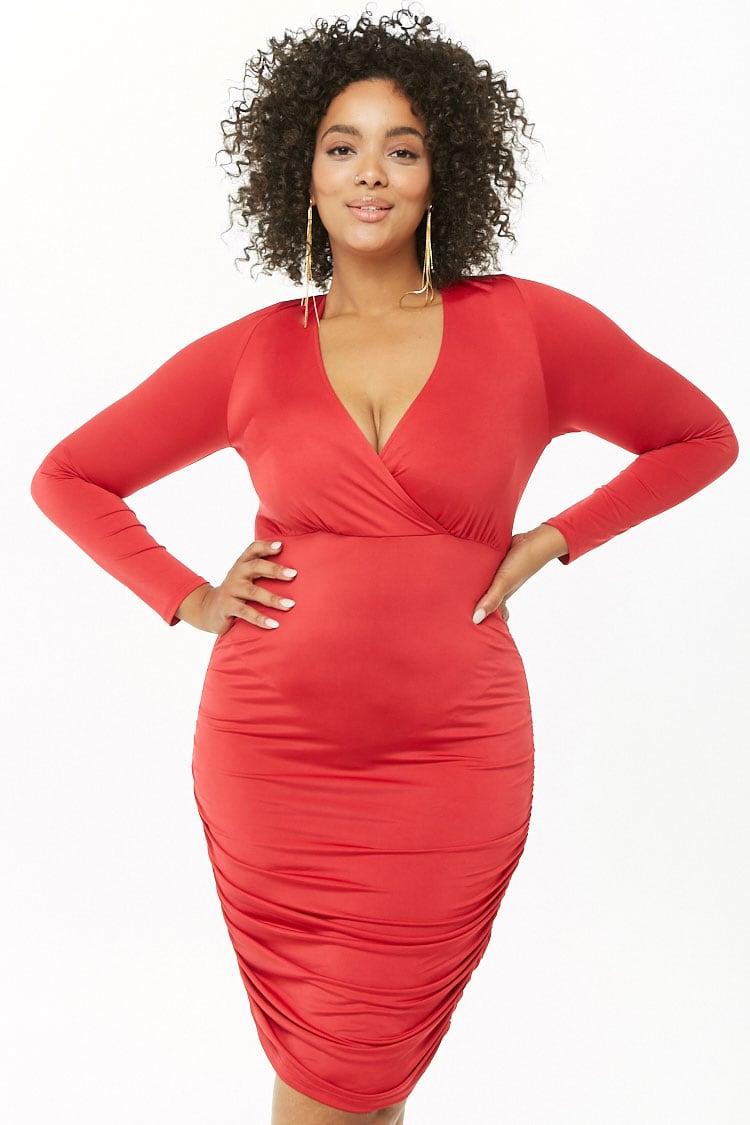 PLUS Plus Size Sheeny Surplice Ruched Dress