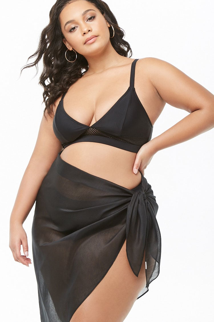 PLUS Plus Size Sheer Sarong Swim Cover-Up