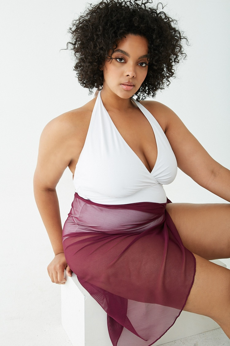 PLUS Plus Size Sheer Swim Cover Up Skirt