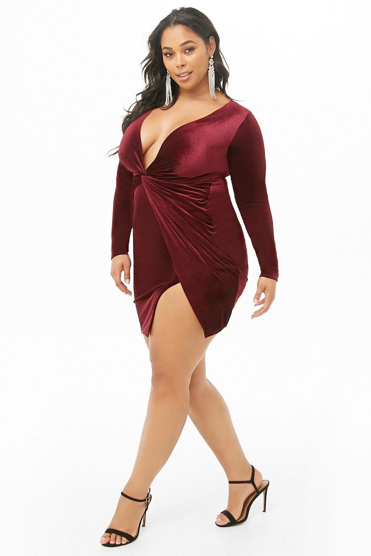 PLUS Plus Size Smooth Velvet Twist-Front Dress