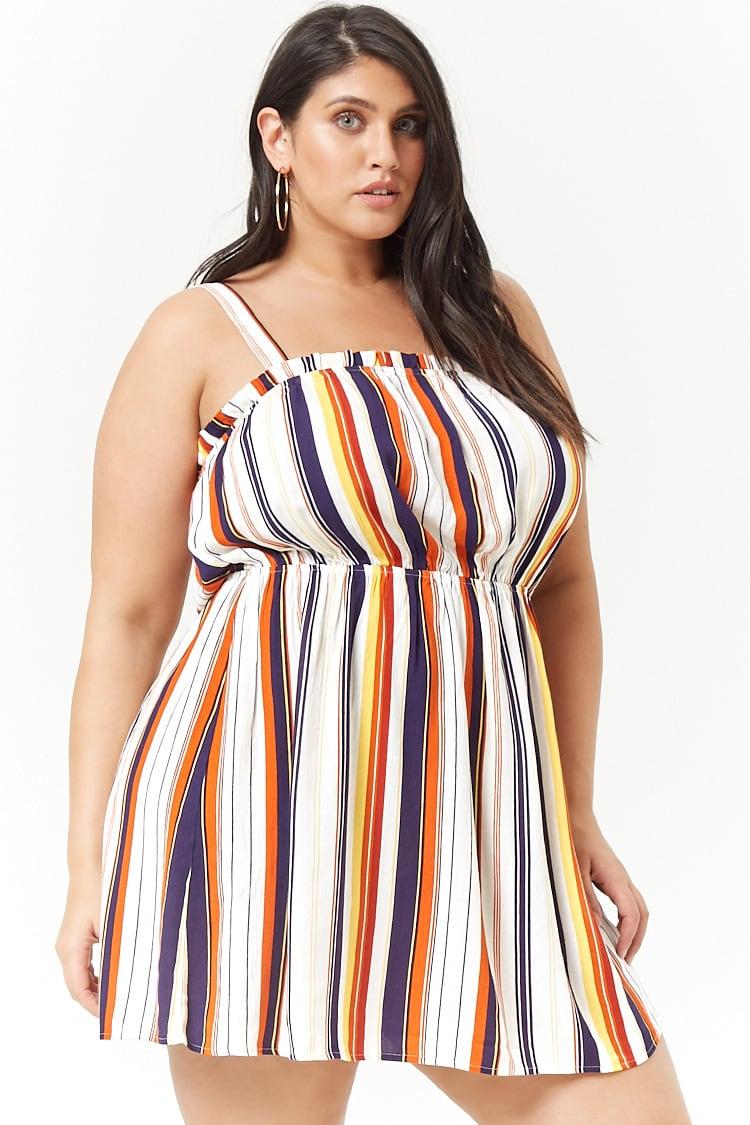 PLUS Plus Size Striped Babydoll Dress