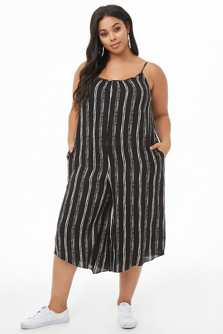 PLUS Plus Size Striped Cami Culotte Jumpsuit