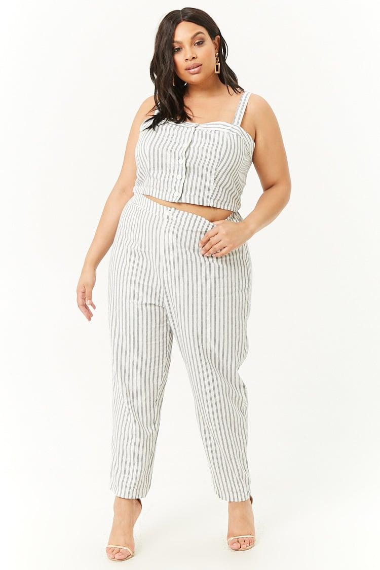 PLUS Plus Size Striped Crop Top