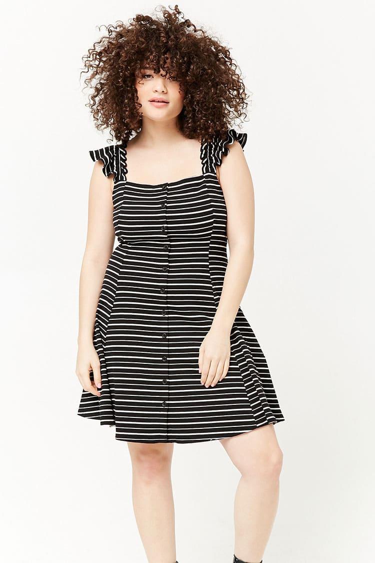PLUS Plus Size Striped Fit & Flare Dress