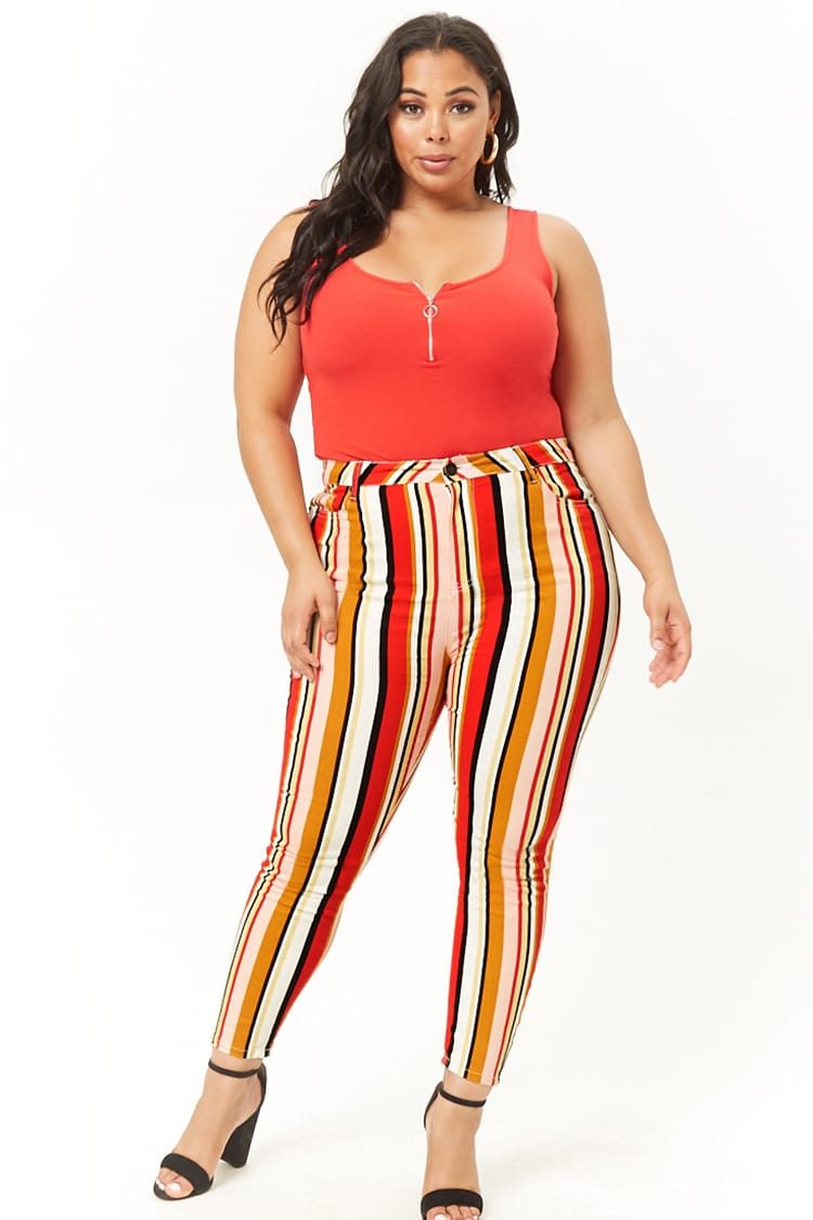 PLUS Plus Size Striped Skinny Jeans
