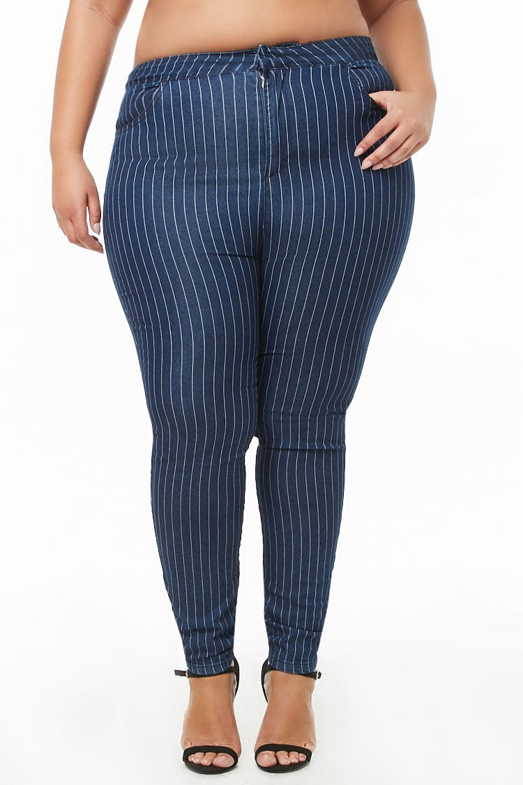 PLUS Plus Size Striped Tapered Jeans